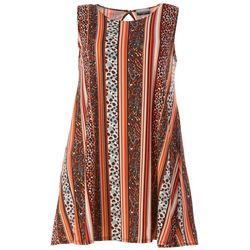 Allison Brittney Plus Sleeveless Leopard Print Swing Dress