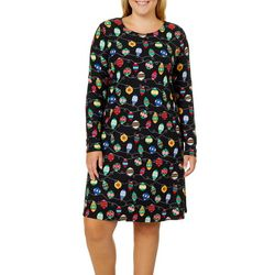 Harlow and Rose Plus Christmas Ornament Long Sleeve Dress