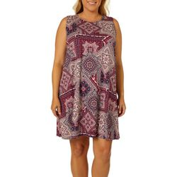 Allison Brittney Plus Geometric Print Sleeveless Sundress