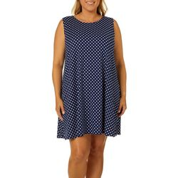 Allison Brittney Plus Polka Dot Print Sleeveless Sundress