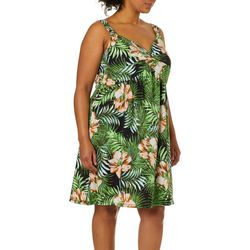 Allison Brittney Plus Tropical Floral Twist Neck Sundress
