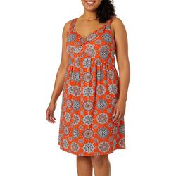 Allison Brittney Plus Medallion Print V-Neck Sundress
