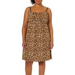 Allison Brittney Plus Cheetah Print Tie Back Sundress