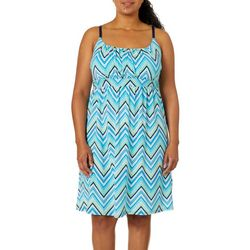 Allison Brittney Plus Chevron Print Tie Back Sundress
