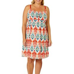 Allison Brittney Plus Ikat Print Tie Back Sundress