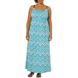 Allison Brittney Plus Chevron Print Tie Back Maxi Dress