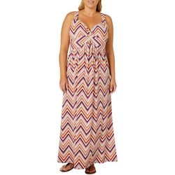 Allison Brittney Plus Chevron Print Twist Neck Maxi Dress