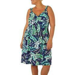 Plus Palm Leaf Print Twist Front Dress
