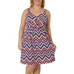 Plus Chevron Print Twist Front Dress