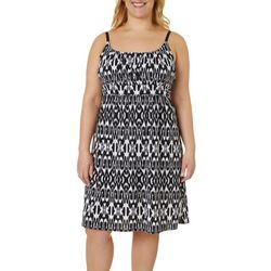 Allison Brittney Plus Sleeveless Ikat Print Dress