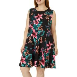 Allison Brittney Plus Floral Design Yummy Swing Dress