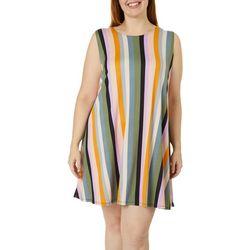 Plus Vertical Stripe Yummy Swing Dress