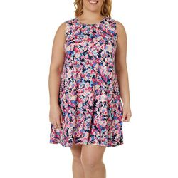Allison Brittney Plus Bright Floral Yummy Swing Dress