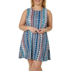 Allison Brittney Plus Stripe Paisley Yummy Swing Dress