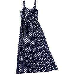 Plus Polka Dot Twist Front Maxi Dress