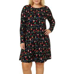 Allison Brittney Plus Stocking Print Swing Dress