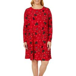 Allison Brittney Plus Christmas Tree Print Swing Dress