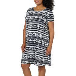Allison Brittney Plus Geo Print T-Shirt Dress