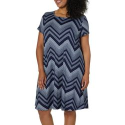 Allison Brittney Plus Chevron Print T-Shirt Dress