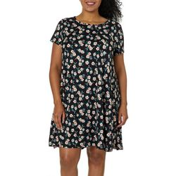 Allison Brittney Plus Floral Print T-Shirt Dress