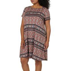Allison Brittney Plus Geometric Stripe Print T-Shirt Dress
