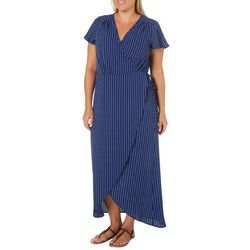 Wrapper Plus Striped Wrap Maxi Dress