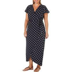 Wrapper Plus Polka Dot Wrap Maxi Dress