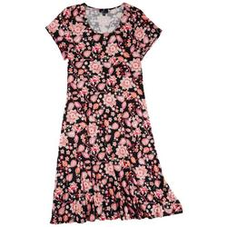 Plus Pink Floral Casual Dress
