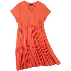 Ronni Nicole Plus 3 Tier Short Sleeve Dress