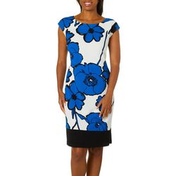 Ronni Nicole Womens Blooming Floral Textured Sheath Dress