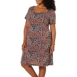 Ronni Nicole Plus Sunburst Puff Print Swing Dress