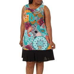 Ronni Nicole Plus Geometric Paisley Print Sleeveless Dress