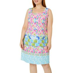 Ronni Nicole Plus Watercolor Tile Print Shift Dress