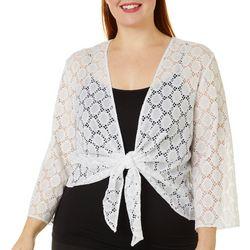 Ronni Nicole Plus Tie Front Circle Lace Shrug