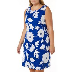 Plus Floral Puff Print Sleeveless Dress