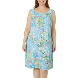 Plus Sleeveless Textured Coral Print Dress