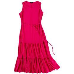 Tiana B Solid Midi Tiered Dress
