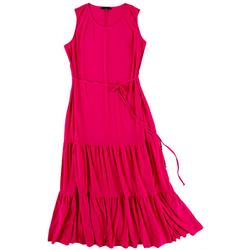 Solid Midi Tiered Dress