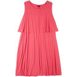Tiana B Plus Pink Tiered Midi Dress