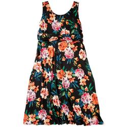 Plus Neon Floral Casual Dress