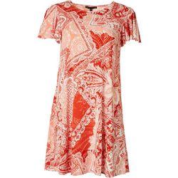 Tiana B Plus Floral Print Chiffon Jacket Dress & Necklace