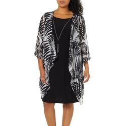 Tiana B Plus Leaf Print Chiffon Jacket Dress