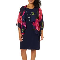 Tiana B Plus Floral Print Chiffon Jacket Dress