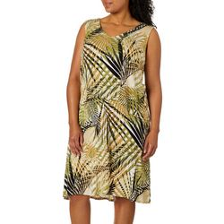 Caribbean Joe Plus Palm Leaf Popover Sundress