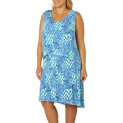Caribbean Joe Plus Pineapple Print Pop-Over Dress
