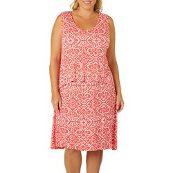 Caribbean Joe Plus Damask Print Popover Sundress