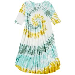 Vasna Womens Plus Tie-Dye High-Low Casual Dress