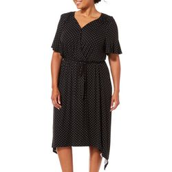 Como Blu Plus Polka Dot Handkerchief Hem Wrap Dress
