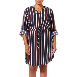 Como Blu Plus Stripe Print Drawstring Shirtdress