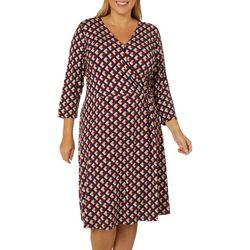 Como Blu Plus Geometric Print Wrap Dress